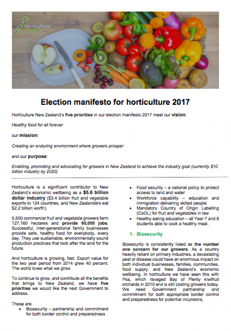 Election Manifesto for horticulture 2017