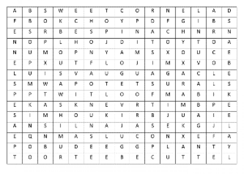 Vegetable Wordfind 2