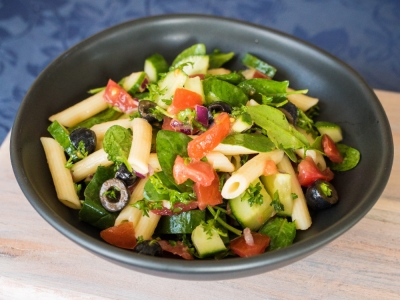 Tomato, cucumber and herb pasta salad