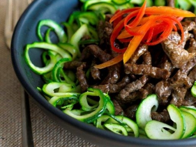 Honey beef with courgettes