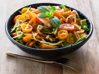 Tomato, courgette noodles and herb salad