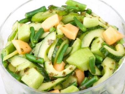Beans, celery, cucumber and melon salad
