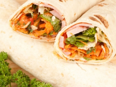 Carrot and ham wraps