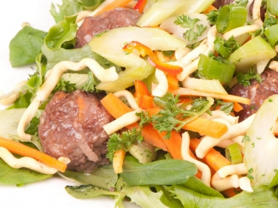 Celery, carrot and venison salad