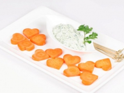 Herb dip with carrot hearts