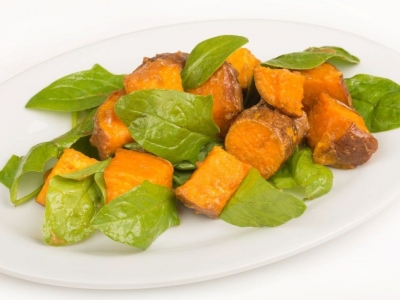 Kumara and spinach salad
