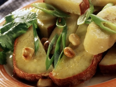 Kumara, banana and spring onion salad