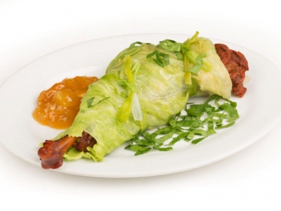 Lettuce and duck parcels