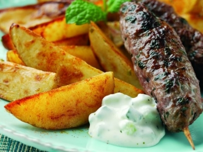 Lime and chilli wedges with lamb koftas