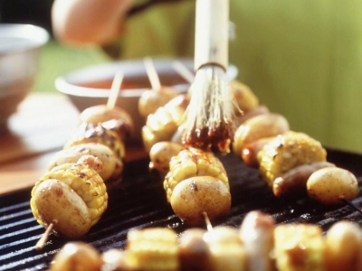 Potato and sweet corn kebabs