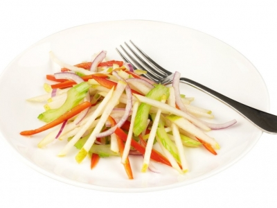 Red onion, red capsicum and pear slaw
