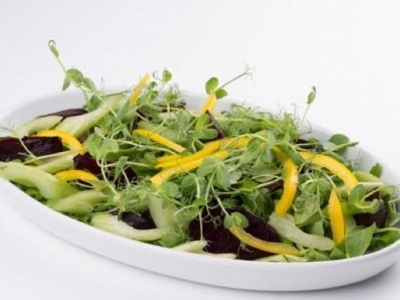 Rocket, beetroot, celery and yellow capsicum salad