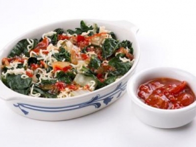 Silverbeet and noodles