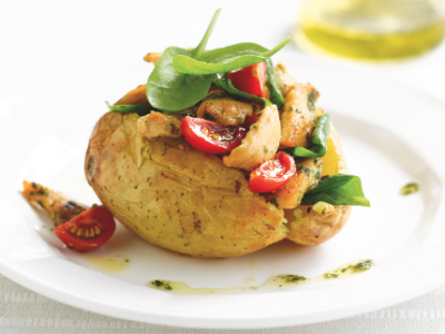 Tomato, spinach and chicken baked potatoes