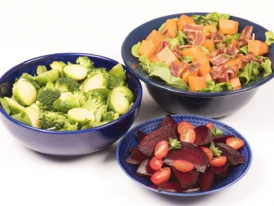 Trio of salads - Steamed broccoli florets and halved Brussels sprouts