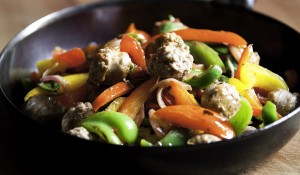 Sausages and sweet peppers photo