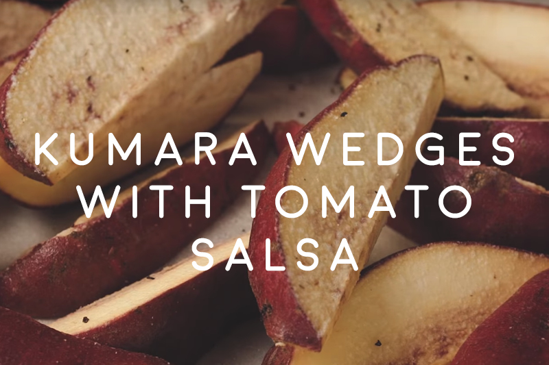 Kumara wedges with tomato salsa