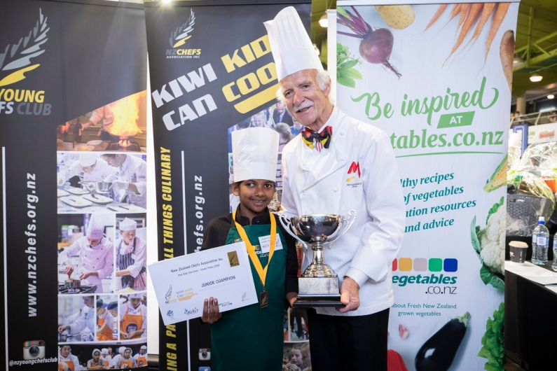 Kiwi Kids Can Cook Junior champion Jordin Wilson with Chef Anton Mosimann OBE