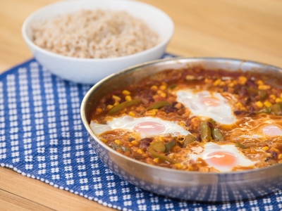 Chilli beans with eggs