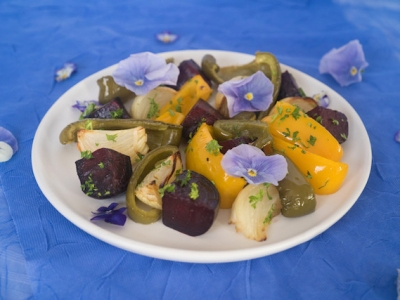 Roast vegetables with flowers