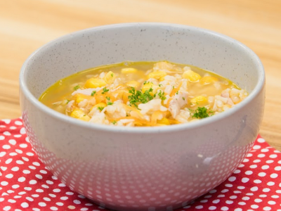 Carrot, corn and chicken soup