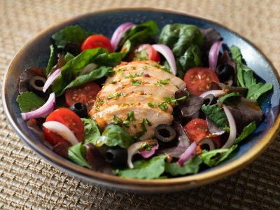 Chicken salad with harissa dressing