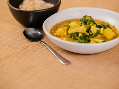 Cauliflower and Spinach Dhal Curry