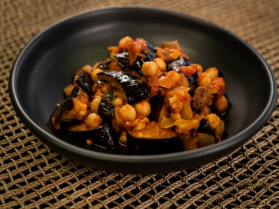 Lebanese Maghmour (chickpea and eggplant stew)