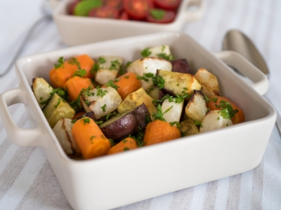 Roasted kohlrabi and vegetables