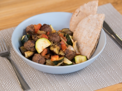 Summer ratatouille with meat balls