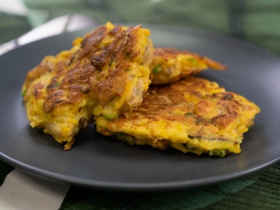 Pumpkin and mussel fritters