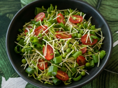 Pea sprout and spring onion salad