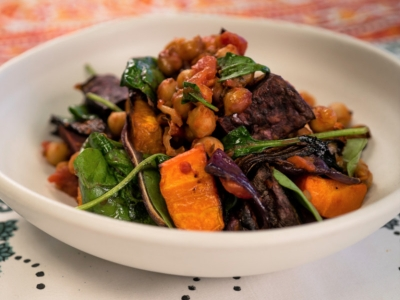 Roasted seasonal vegetables with chickpeas and spinach
