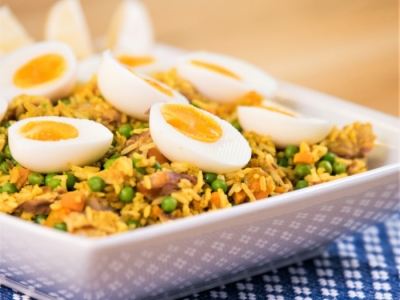 Vegetables and smoked fish kedgeree