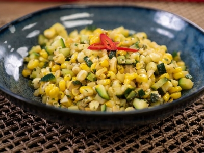 Warm courgette and corn salad