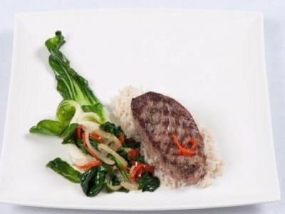 Asian greens and lamb steaks