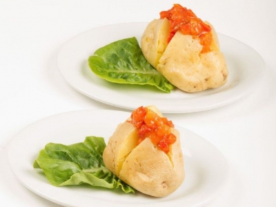 Baked potatoes with tomato sauce