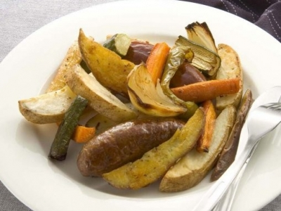 Bangers and vegetable chips