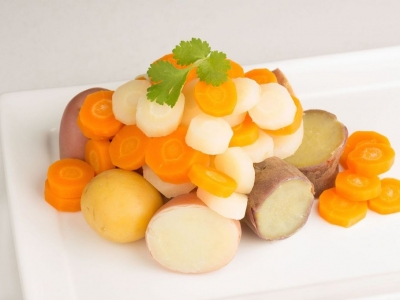 Boiled carrots, kūmara, potatoes and parsnips