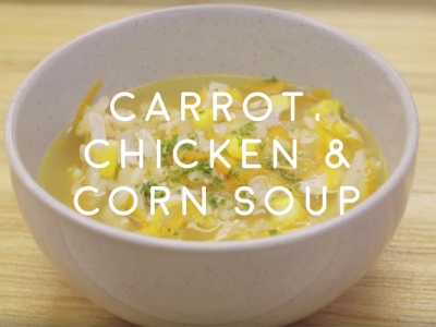 Carrot, chicken and corn soup