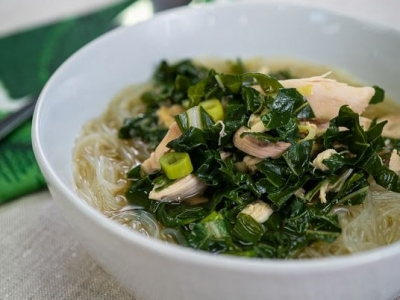 Chicken noodle soup with silverbeet