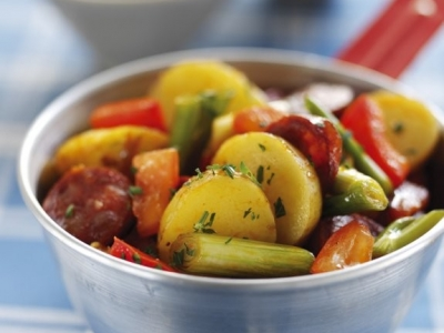 Chorizo and potato stir fry