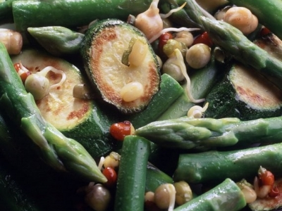 Courgette and sprout stir fry