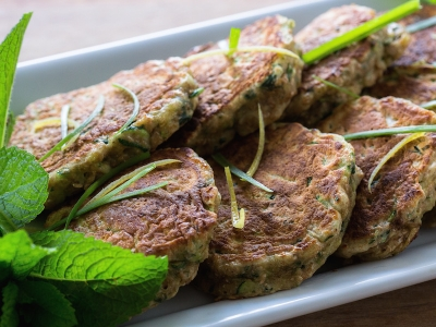 Courgette and herb fritters