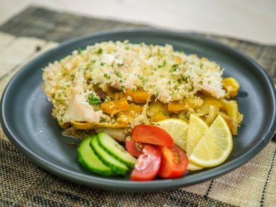 Kūmara and pumpkin bake with coconut and lemon crusted fish