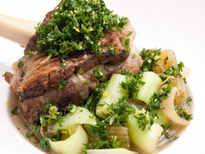 Lamb shanks or drums with gremolata