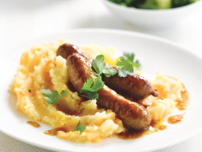 Pork sausages with mash