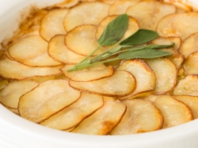 Celeriac, potato and leek gratin