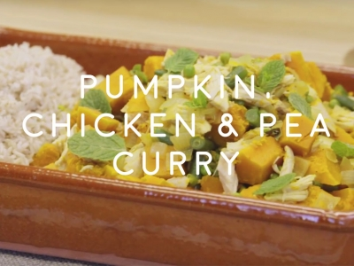 Pumpkin, chicken and pea curry