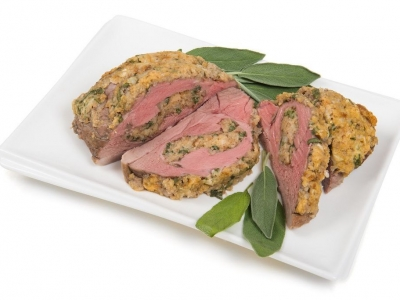 Roast lamb leg with thyme filling